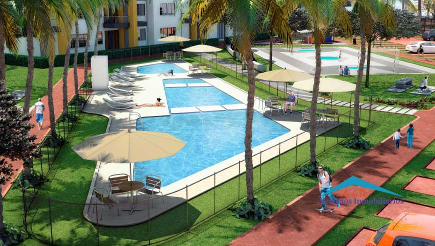 cuenta con piscina para adultos y niños